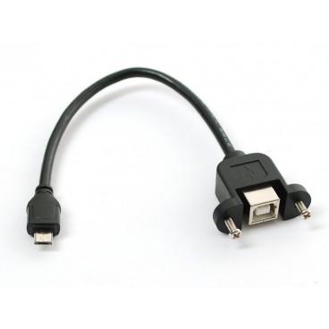 Cable USB B Femelle-Micro B Male pour montage panneau