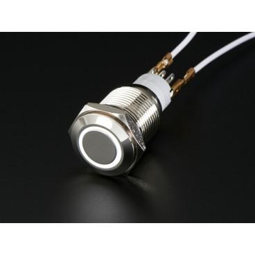 Bouton poussoir chrome avec anneau LED blanc - 16mm