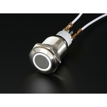 Push button chrome with ring LED white - 16mm