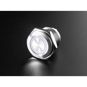 Bouton poussoir chrome avec anneau LED RGB - 16mm