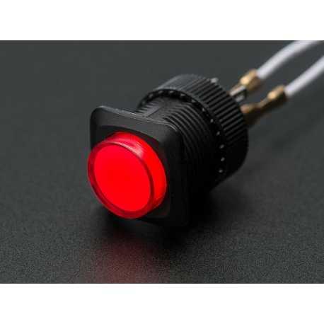 Bouton poussoir lumineux 16mm - Rouge