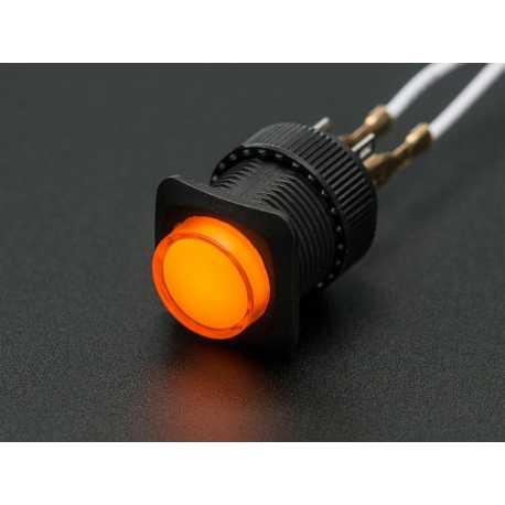 Bouton poussoir lumineux 16mm - Orange