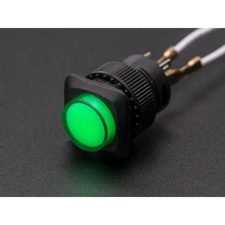 Bouton ON-OFF lumineux 16mm - Vert