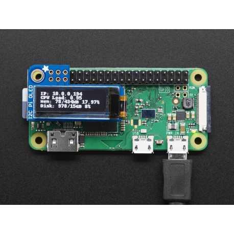 Adafruit PiOLED - 128x32 Monochrome OLED for Raspberry PI