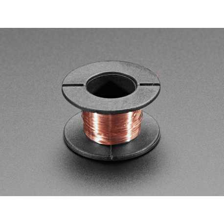 Bobine de fil en cuivre emaille - 11m / 0,1 mm de diam