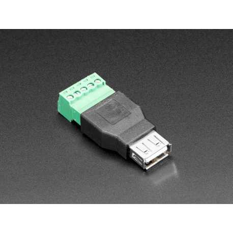 USB-A Female Socket to 5-pin Terminal Block