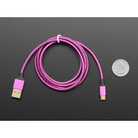 Cable USB A vers micro B entierement reversible rose/violet - longueur 1m