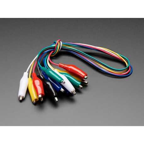 Lot de 6 cables avec pinces crocodiles 450mm