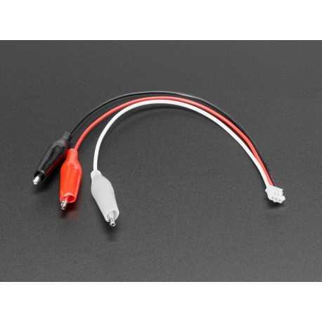 Cable JST PH 3 broches vers pinces crocodiles avec code couleur