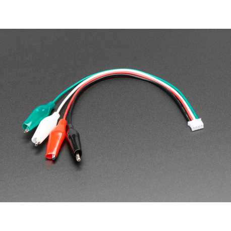 Cable JST PH 4 broches vers pinces crocodiles avec code couleur
