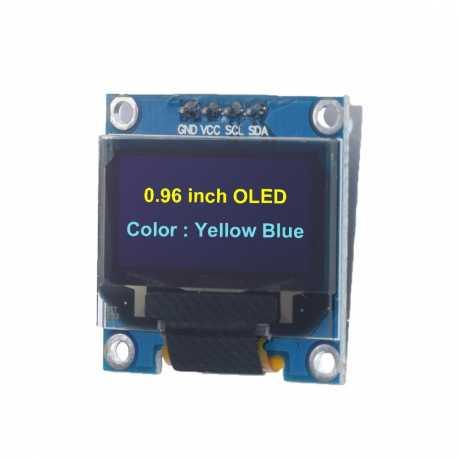 """Ecran OLED Jaune Bleu 0,96"""" 128x64 Graphique I2C SSD1306"""