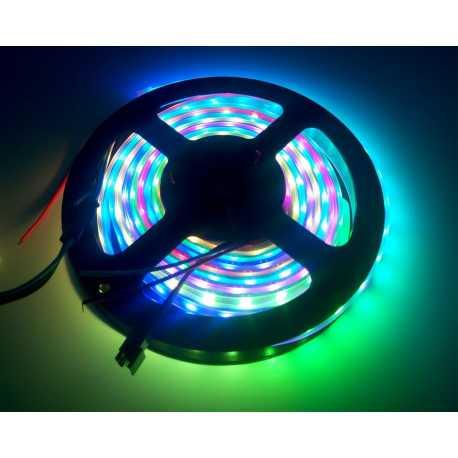 Bande de LED WS2812 de 60 LED RGB - Noire - 1m