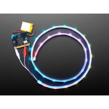 Bande de LED NeoPixel avec pinces croco - 30 LED/m - 1 Metre de long - Noir