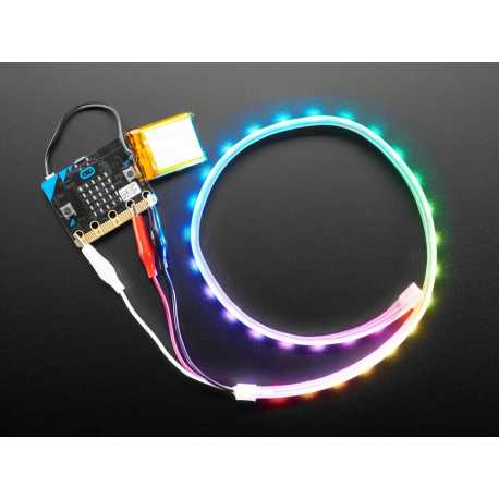 Bande de LED NeoPixel avec pinces croco - 60 LED/m - 0.5 Metre de long - Noir