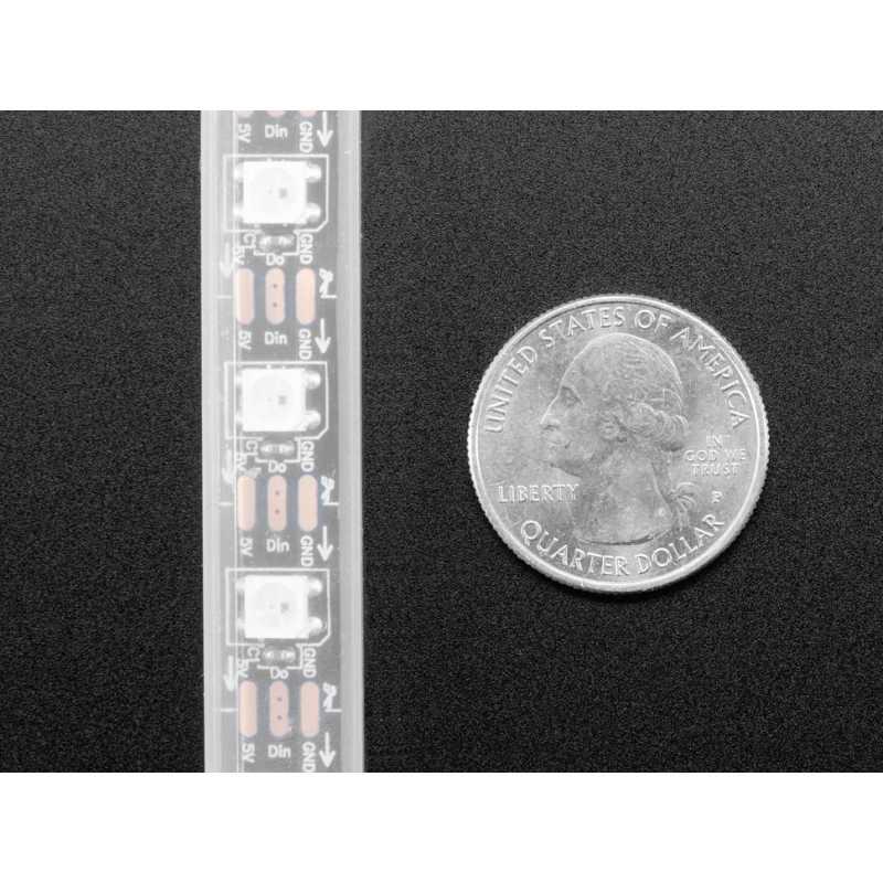 Adafruit NeoPixel LED Strip w/ Alligator Clips - 60 LED/m - 0 5 Meter Long  - Black Flex