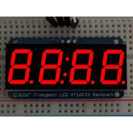 """Afficheur 4 digits 7 segments 0,56"""" avec backpack I2C - Rouge"""