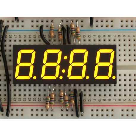 "Afficheur Horloge 7 segments jaune 4 digits - 0,56"""