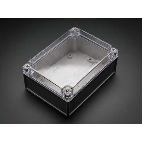 Boitier en plastique de grande taille - resistant aux intemperies avec couvercle transparent.