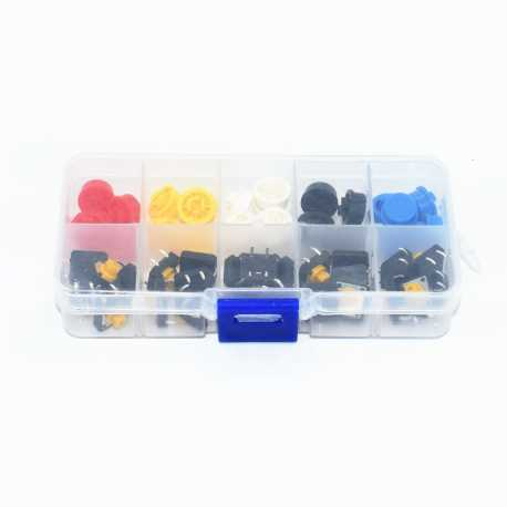 Pack of 25 push buttons with coloured capsules