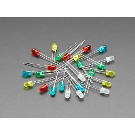 Diffused 5mm LED Pack - 5 LEDs each in 5 Colors - 25 Pack