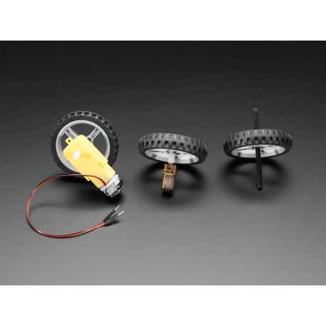 Roue multi moyeu noire pour moteur TT / Lego ou N20 - Diametre 65mm