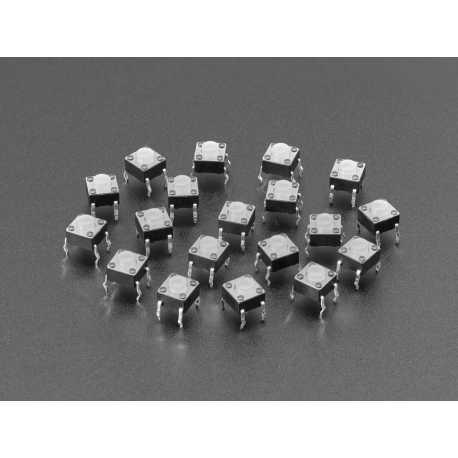 Boutons poussoirs en silicone doux 6mm (paquet de 20) - Translucide